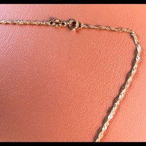 14K Gold Necklace & 14K-P Ring w/ Diamonds Sz 4-5